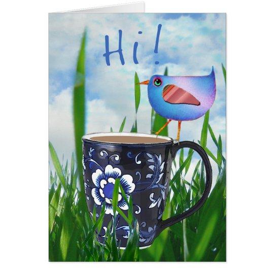 Bluebird de la felicidad del café hola tarjeta de felicitación