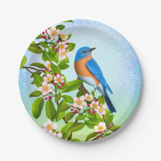 Bluebird del este en las placas de papel de los plato de papel