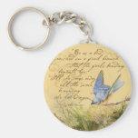 Bluebird en rama y la cita de Victor Hugo Llaveros Personalizados