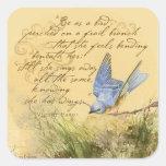 Bluebird en rama y la cita de Victor Hugo Calcomanías Cuadradass Personalizadas