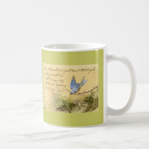 Bluebird en rama y la cita de Victor Hugo Taza Básica Blanca
