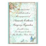 Bluebird y invitación rosada del compromiso de los
