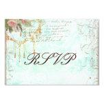 Bluebird y tarjetas rosadas de RSVP de los rosas Invitación 8,9 X 12,7 Cm