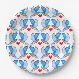 Bluebirds de las placas de papel de la felicidad plato de papel