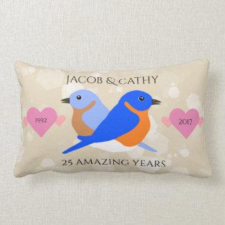 Bluebirds del este: 25 años de aniversario de boda cojín lumbar