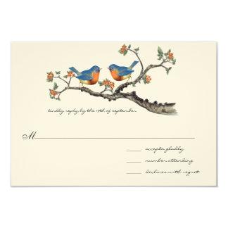Bluebirds lindos del vintage que casan invitación 8,9 x 12,7 cm
