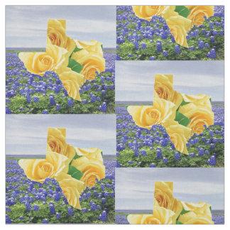 """Bluebonnets de Tejas y tela 4,5"""" del rosa amarillo"""