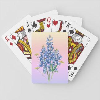 Bluebonnets en fondo rosado barajas de cartas