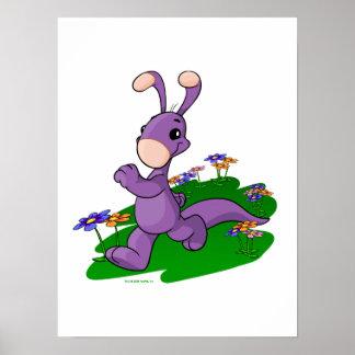 Blumaroo púrpura que marcha a través de la isla de póster