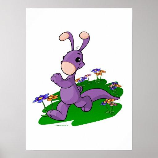 Blumaroo púrpura que marcha a través de la isla de impresiones