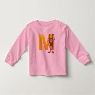 blusa de manga larga del alfabeto del niño camiseta
