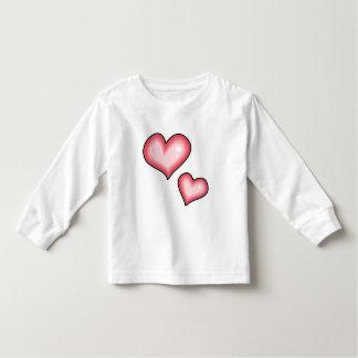 Blusa de manga larga rosada de los corazones camiseta