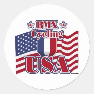 BMX de ciclo los E.E.U.U. Pegatina Redonda