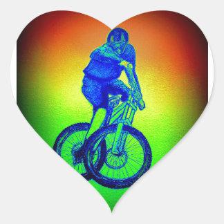 Bmx del mtb de Llandegla de la bici de montaña Pegatina En Forma De Corazón