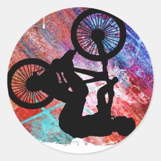 BMX en Grunge oxidado Pegatina Redonda