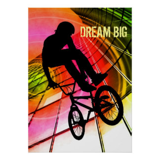 BMX en las líneas y los círculos grandes ideales Poster