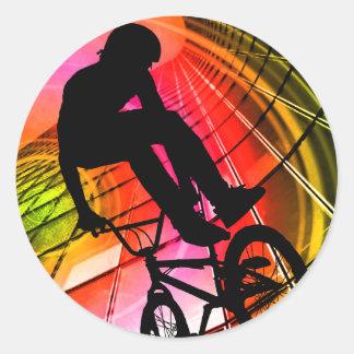 BMX en líneas y círculos Pegatina Redonda