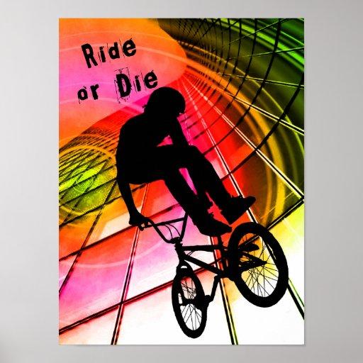 BMX en líneas y paseo de los círculos o mueren Posters