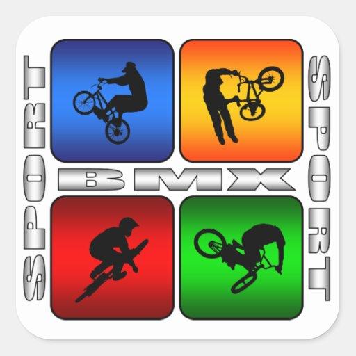 BMX espectacular Calcomania Cuadrada Personalizada