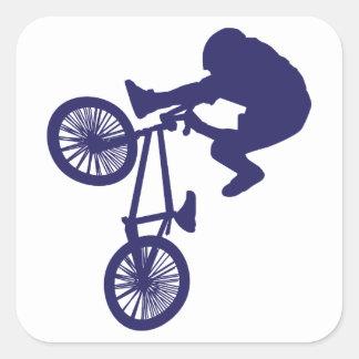 BMX-Motorista Pegatina Cuadrada