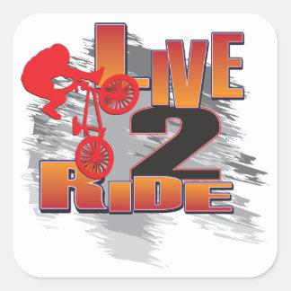 BMX viven para montar paseo para vivir Pegatina Cuadrada