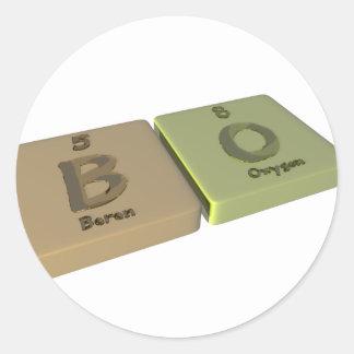 BO como el boro B y oxígeno O Pegatinas Redondas
