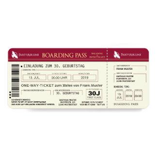 BOARDING PASAPORTE billete de avión tarjeta de Invitación 10,1 X 23,5 Cm