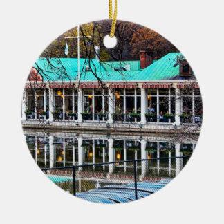 Boathouse del restaurante del bote de remos del adorno redondo de cerámica