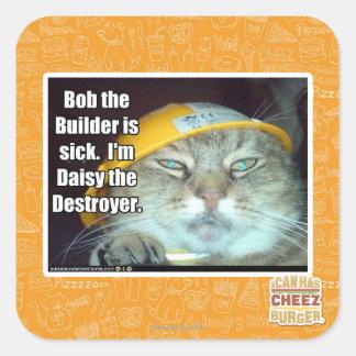 Bob el constructor está enfermo pegatina cuadrada