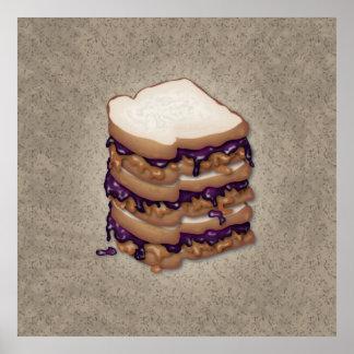 Bocadillos de la mantequilla y de la jalea de caca póster