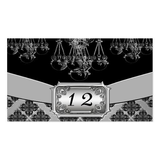 Boda adornado de la plata y de la lámpara del negr tarjeta personal