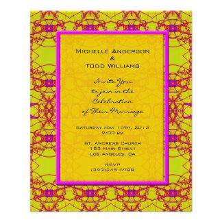 Boda amarillo rosado brillante del modelo folleto 11,4 x 14,2 cm