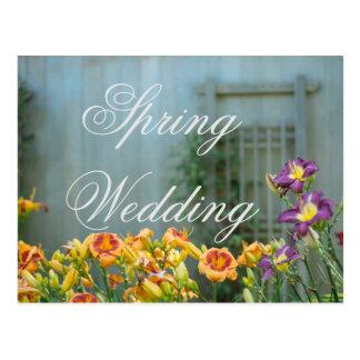 Boda amarillo rústico de la primavera postal
