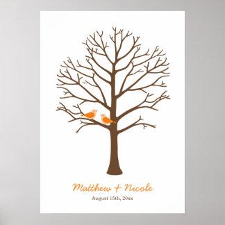 Boda anaranjado del árbol de la huella dactilar de póster