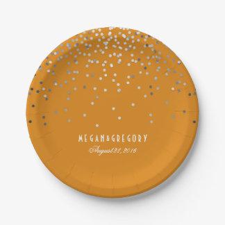 Boda anaranjado del brillo elegante de plata del plato de papel