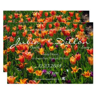 Boda anaranjado del jardín invitación 12,7 x 17,8 cm