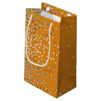 Boda anaranjado elegante del vintage del confeti bolsa de regalo pequeña