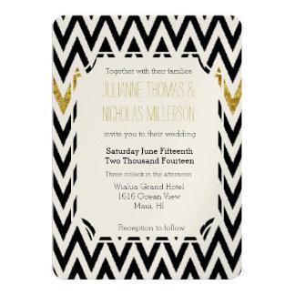 Boda atractivo y negro del oro elegante de Chevron Invitación 12,7 X 17,8 Cm
