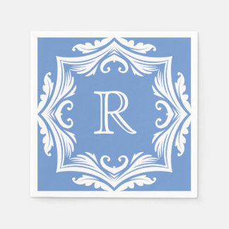 Boda azul claro y blanco elegante del monograma servilleta de papel
