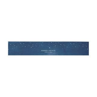 Boda azul de la acuarela de la estrella fugaz cintas para invitaciones