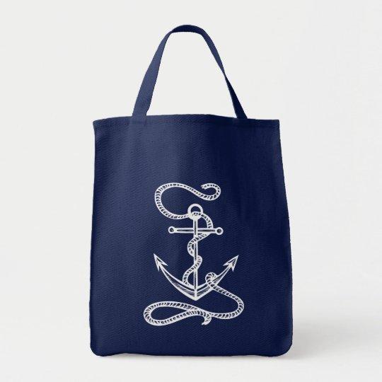Boda azul de la acuarela del ancla náutica de la bolso de tela