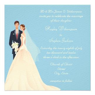 Boda azul de la novia y del novio de la iglesia y comunicados personales