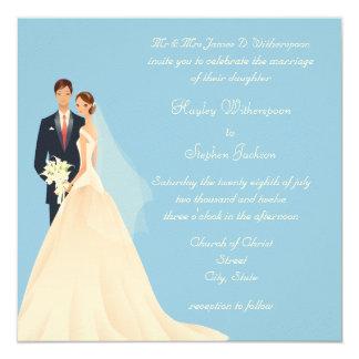 Boda azul de la novia y del novio, de la iglesia y invitación 13,3 cm x 13,3cm