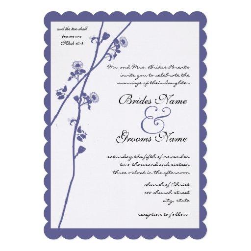 Boda azul de la rama del Wildflower del bígaro Comunicados Personalizados