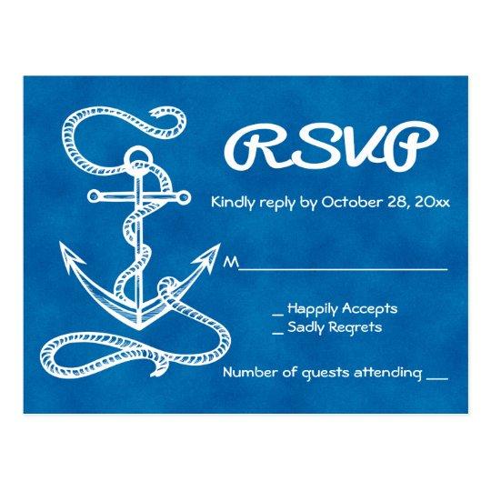 Boda azul de RSVP de la nave de la acuarela Postal