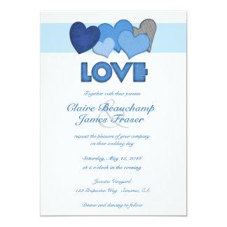 Boda azul del AMOR de los corazones Invitación 12,7 X 17,8 Cm