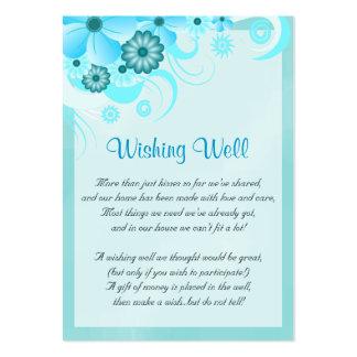 Boda azul del hibisco de la aguamarina que desea tarjetas de visita grandes