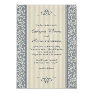 Boda azul elegante del modelo del damasco invitación 12,7 x 17,8 cm