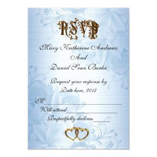 Boda azul elegante del satén de RSVP Invitación 12,7 X 17,8 Cm