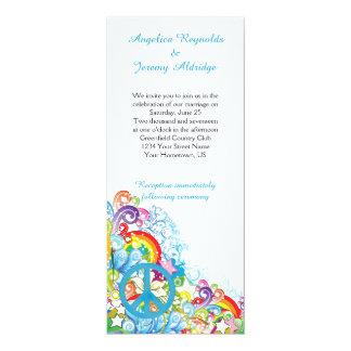 Boda azul floral abstracto del poste de signo de invitación 10,1 x 23,5 cm